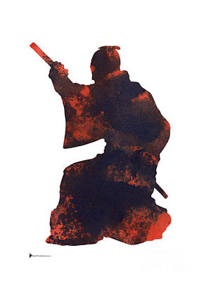 Samurai Mixed Media - Samurai Silhouette Painting Watercolor Art Print by Joanna Szmerdt