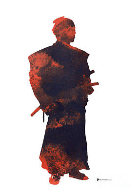 Samurai Mixed Media - Samurai Silhouette Watercolor Art Print Painting by Joanna Szmerdt