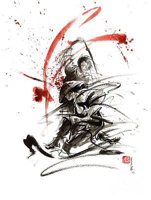 Ink Painting - Samurai Sword Black White Red Strokes Bushido Katana Martial Arts Sumi-e Original Fight Ink Painting by Mariusz Szmerdt