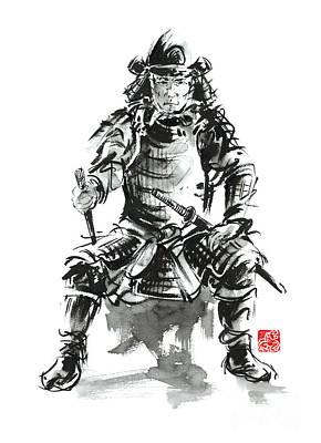 Mask Painting - Samurai Sword Bushido Katana Armor Silver Steel Plate Metal Kabuto Costume Helmet Martial Arts Sumi- by Mariusz Szmerdt