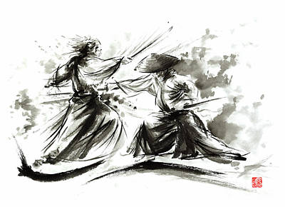 Asia Painting - Samurai Sword Bushido Katana Martial Arts Budo Sumi-e Original Ink Painting Artwork by Mariusz Szmerdt