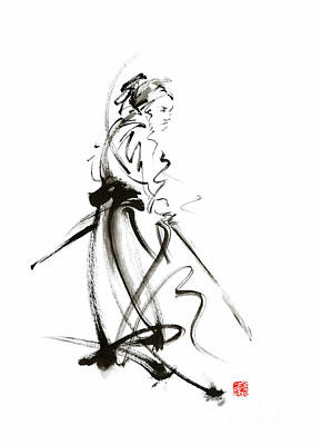 Enlightenment Painting - Samurai Sword Bushido Katana Martial Arts Sumi-e Original Ink Painting Artwork by Mariusz Szmerdt