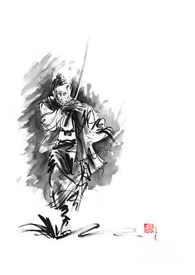 Enlightenment Painting - Samurai Sword Bushido Katana Martial Arts Sumi-e Original Running Run Man Design Ronin Ink Painting  by Mariusz Szmerdt