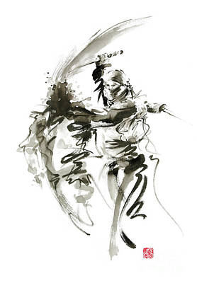 Samurai Painting - Ninja - Shadow Warrior by Mariusz Szmerdt