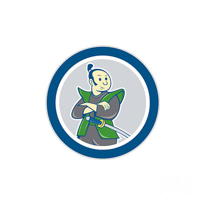 Sword Cartoon Digital Art - Samurai Warrior Arms Folded Circle Cartoon by Aloysius Patrimonio