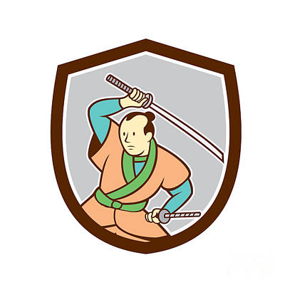 Sword Cartoon Digital Art - Samurai Warrior Katana Sword Shield Cartoon by Aloysius Patrimonio
