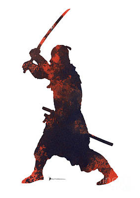 Samurai Mixed Media - Samurai Warrior Silhouette Art Print Watercolor Painting. by Joanna Szmerdt