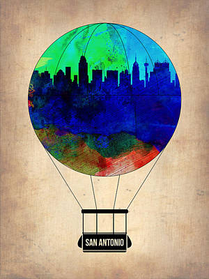 San Antonio Wall Art - Painting - San Antonio Air Balloon by Naxart Studio