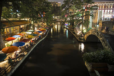 Photograph - San Antonio And River Walk St Night by John McGraw