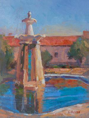 Plein Air Painting - San Antonio De Padua Mission Fountain by Karla Bartholomew