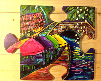 Autism Painting - Puzzle Piece San Antonio For Autism by Patti Schermerhorn