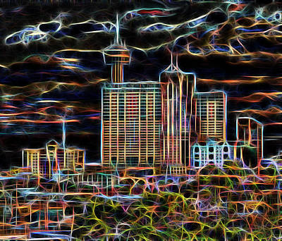 Digital Art - San Antonio Lights The Night by Wendy J St Christopher