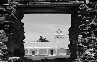 Black And White Photograph - San Antonio Missions National Historical Park Mission San Juan Exterior Profile Through Window Bw by Shawn O'Brien