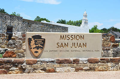 San Juan Photograph - San Antonio Missions National Historical Park Mission San Juan Park Sign by Shawn O'Brien