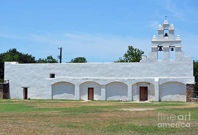 San Antonio Missions National Historical Park Mission San Juan Whitewashed Exterior Profile Art Print by Shawn O'Brien