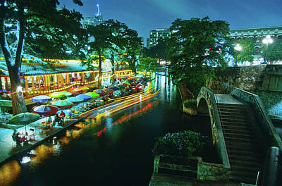 San Antonio River Walk At Night, River Art Print