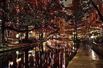 San Antonio Riverwalk Decorated With Shiny Lights At Night Refle Art Print by Alan Tonnesen