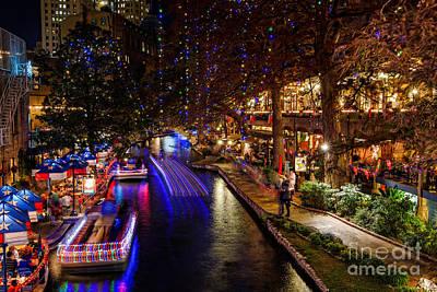 Winter Night Photograph - San Antonio Riverwalk During Christmas by Silvio Ligutti