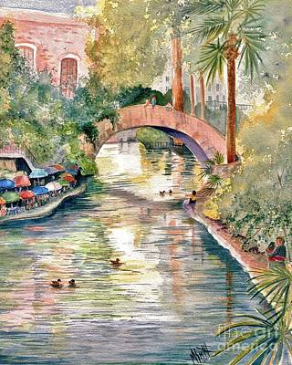 Brick Buildings Painting - San Antonio Riverwalk by Marilyn Smith