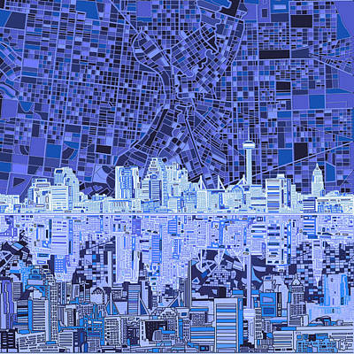 Painting - San Antonio Skyline Abstract 9 by Bekim Art