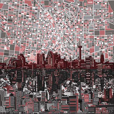 Abstract Skyline Paintings - San Antonio Skyline Abstract by Bekim M