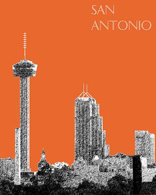 San Antonio Skyline - Coral Art Print