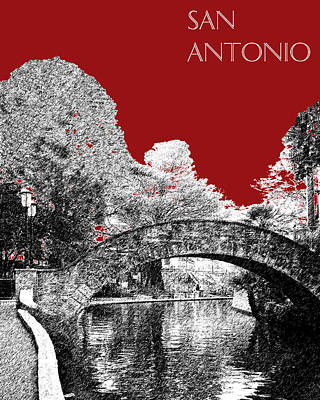 San Antonio Skyline River Walk - Dark Red Art Print