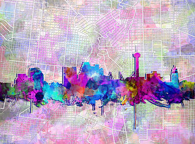 Painting - San Antonio Skyline Watercolor 3 by Bekim Art