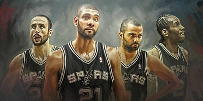 Basketball Painting - San Antonio Spurs Artwork by Sheraz A