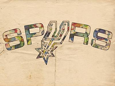 Painting - San Antonio Spurs Retro Poster by Florian Rodarte