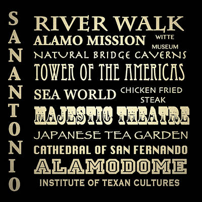 The Alamo Wall Art - Digital Art - San Antonio Texas Famous Landmarks by Patricia Lintner