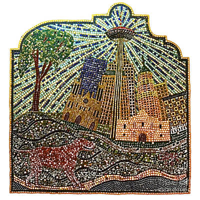 Digital Art - San Antonio Texas Public Street Riverwalk Tile Mosaic Square Format Colored Pencil Digital Art by Shawn O'Brien