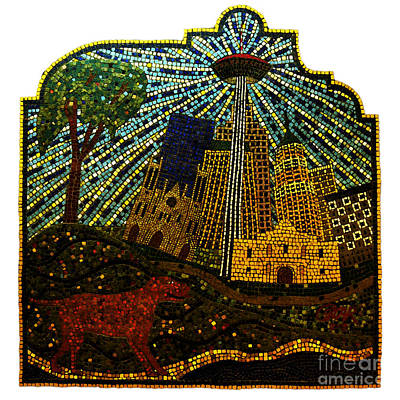 Digital Art - San Antonio Texas Public Street Riverwalk Tile Mosaic Square Format Fresco Digital Art by Shawn O'Brien