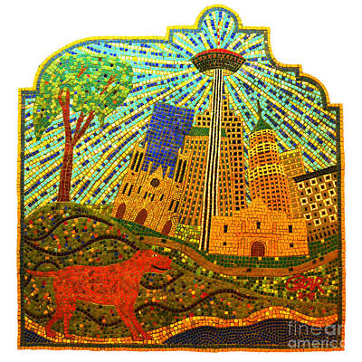 Digital Art - San Antonio Texas Public Street Riverwalk Tile Mosaic Square Format Ink Outlines Digital Art by Shawn O'Brien