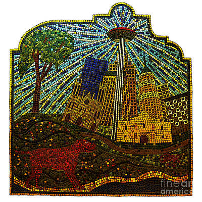 Digital Art - San Antonio Texas Public Street Riverwalk Tile Mosaic Square Format Poster Edges Digital Art by Shawn O'Brien