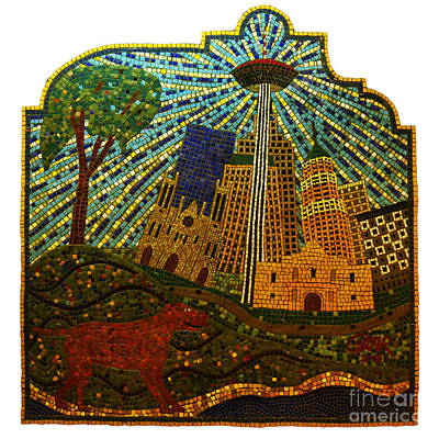 Photograph - San Antonio Texas Public Street Riverwalk Tile Mosaic Square Format by Shawn O'Brien