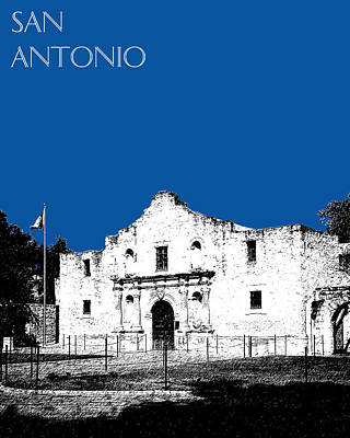 San Antonio The Alamo - Royal Blue Art Print by DB Artist