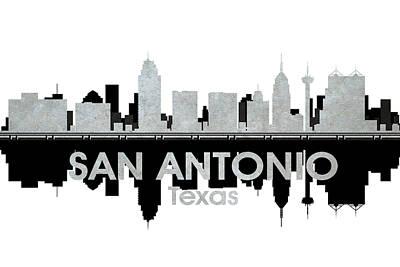 Abstract Skyline Mixed Media - San Antonio TX 4 by Angelina Tamez