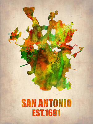 Poster Painting - San Antonio Watercolor Map by Naxart Studio