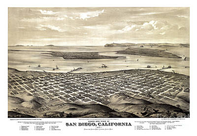 Vintage Map Painting - San Diego - California - 1876 by Pablo Romero