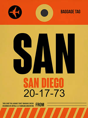 San Diego Mixed Media - San Diego Airport Poster 1 by Naxart Studio