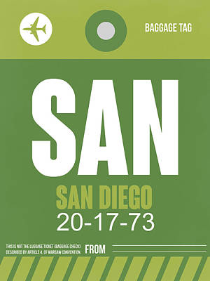 American Digital Art - San Diego Airport Poster 2 by Naxart Studio