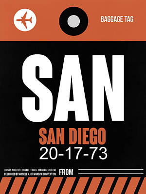 Capital Cities Digital Art - San Diego Airport Poster 3 by Naxart Studio