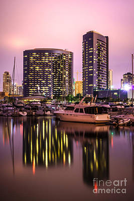 San Diego At Night At Embarcadero Marina Art Print by Paul Velgos