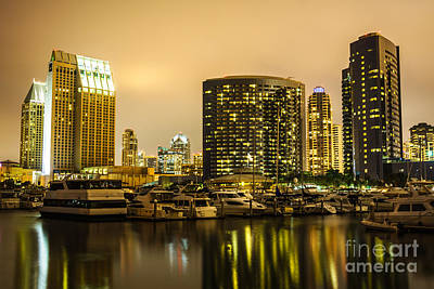 San Diego At Night With Luxury Yachts Art Print by Paul Velgos