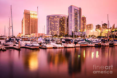 San Diego At Night With Skyline And Marina Art Print by Paul Velgos
