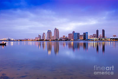 Photograph - San Diego Ca Skyline Sunrise by David Zanzinger