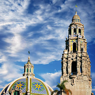 Photograph - San Diego - California Building Bell Tower And Dome by Gabriele Pomykaj
