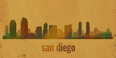 San Diego Mixed Media - San Diego California City Skyline Watercolor On Parchment by Design Turnpike