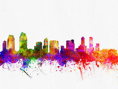 San Diego Digital Art - San Diego California Skyline 02 by Aged Pixel